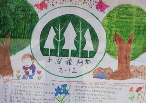 植树节手抄报--杭州竹君作文培训学校-小学生学作文